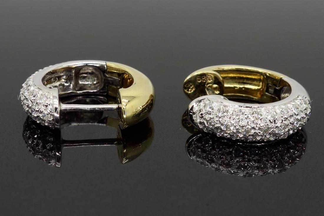 14KT Two Tone Gold 0.25ctw Diamond Earrings - 2