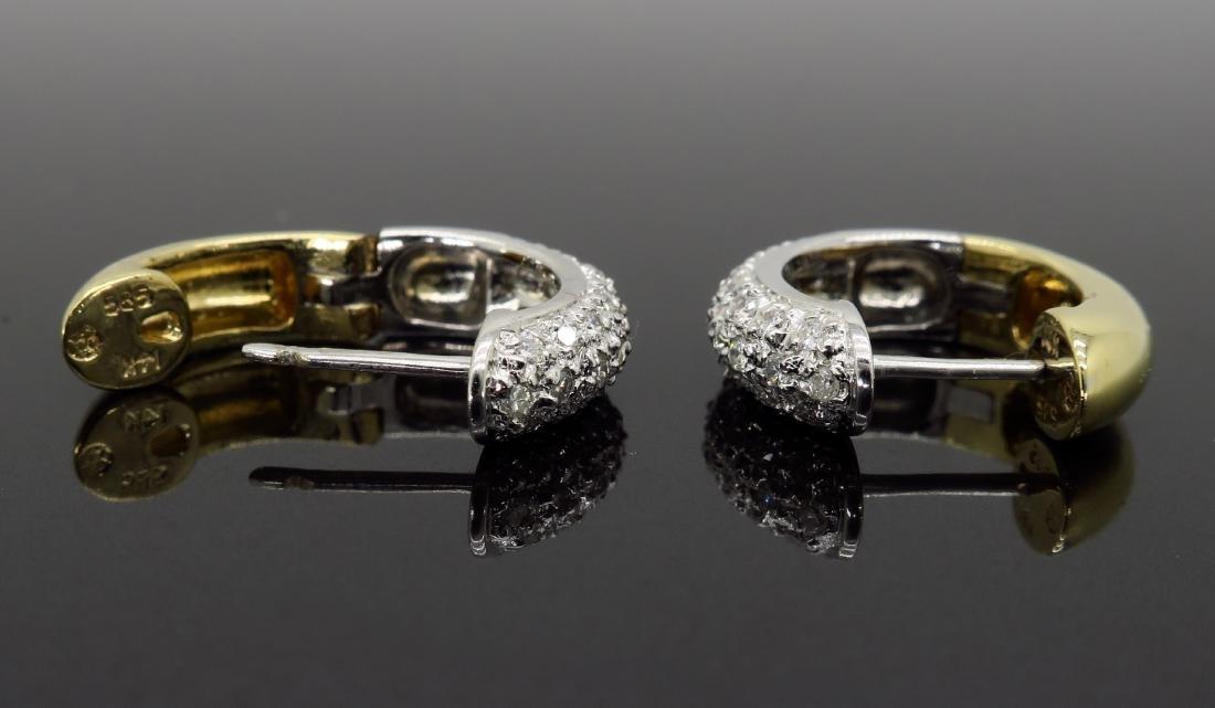 14KT Two Tone Gold 0.25ctw Diamond Earrings - 3