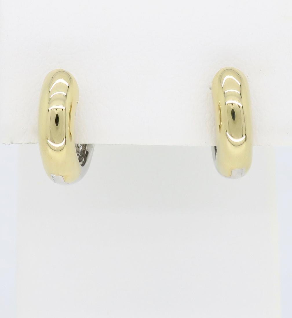 14KT Two Tone Gold 0.25ctw Diamond Earrings - 4