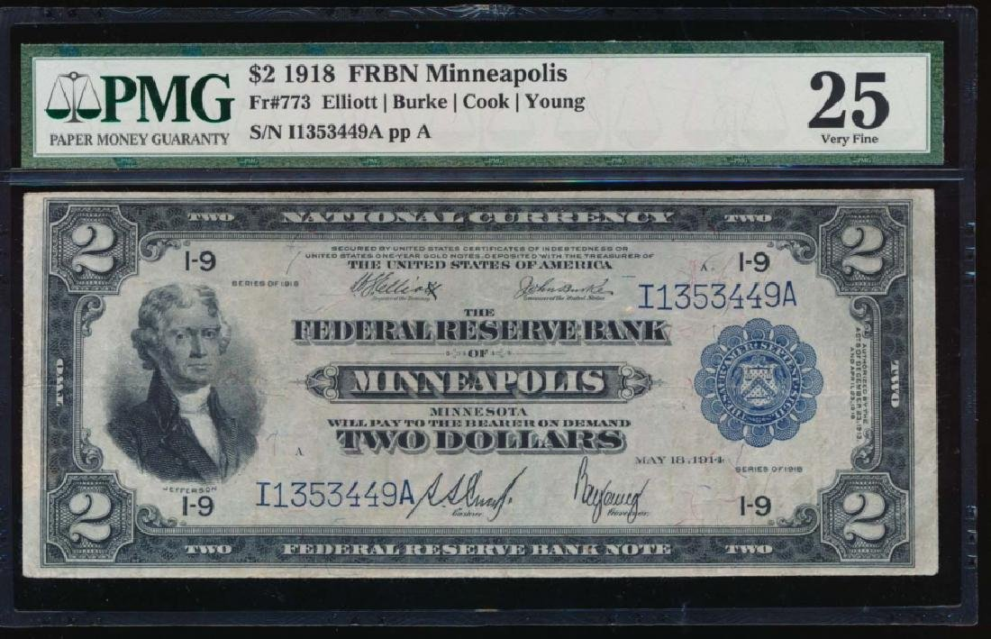 1918 $2 Minneapolis Federal Reserve Bank Note PMG 25