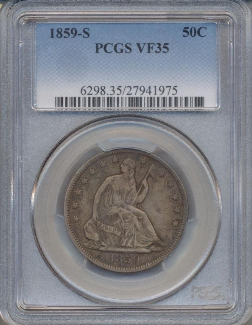 1859-S Liberty Seated Half Dollar Coin PCGS VF35