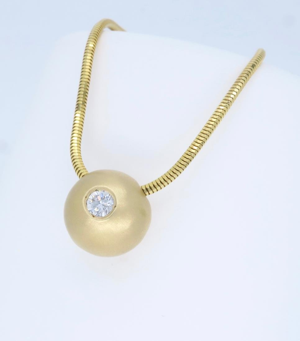 14K Yellow Gold 0.25ct Diamond Pendant with Chain - 2