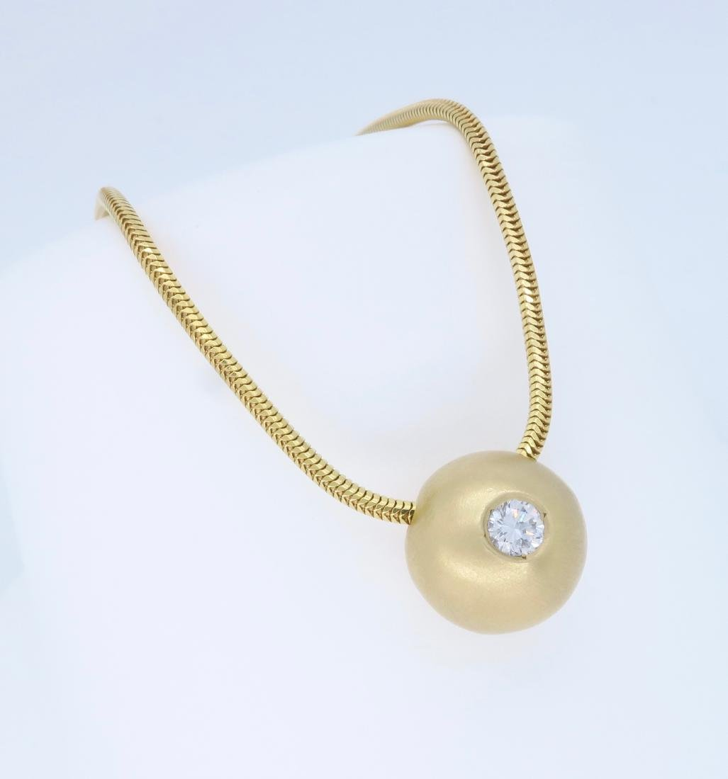 14K Yellow Gold 0.25ct Diamond Pendant with Chain - 3