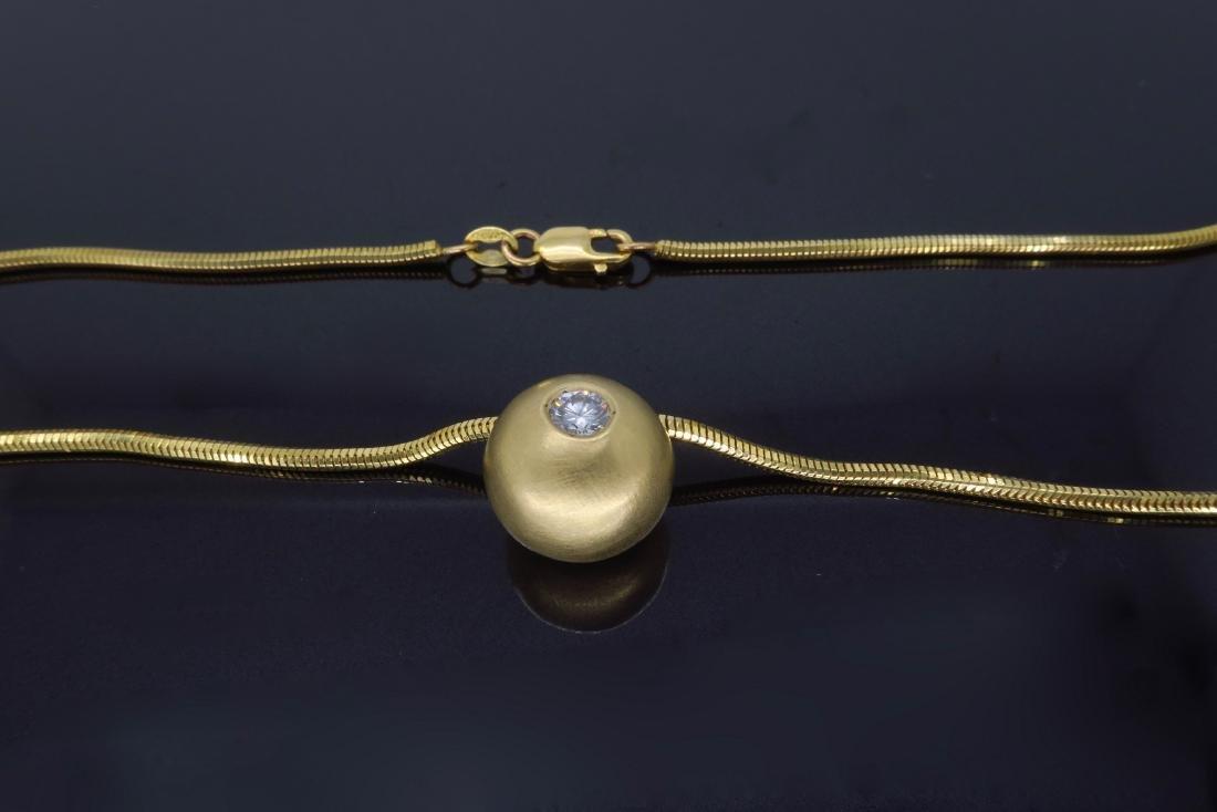 14K Yellow Gold 0.25ct Diamond Pendant with Chain - 5