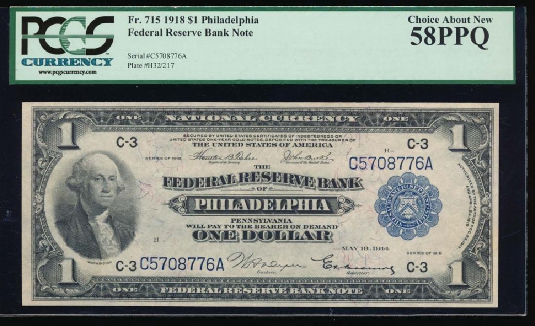 1918 $1 Philadelphia Federal Reserve Bank Note PCGS