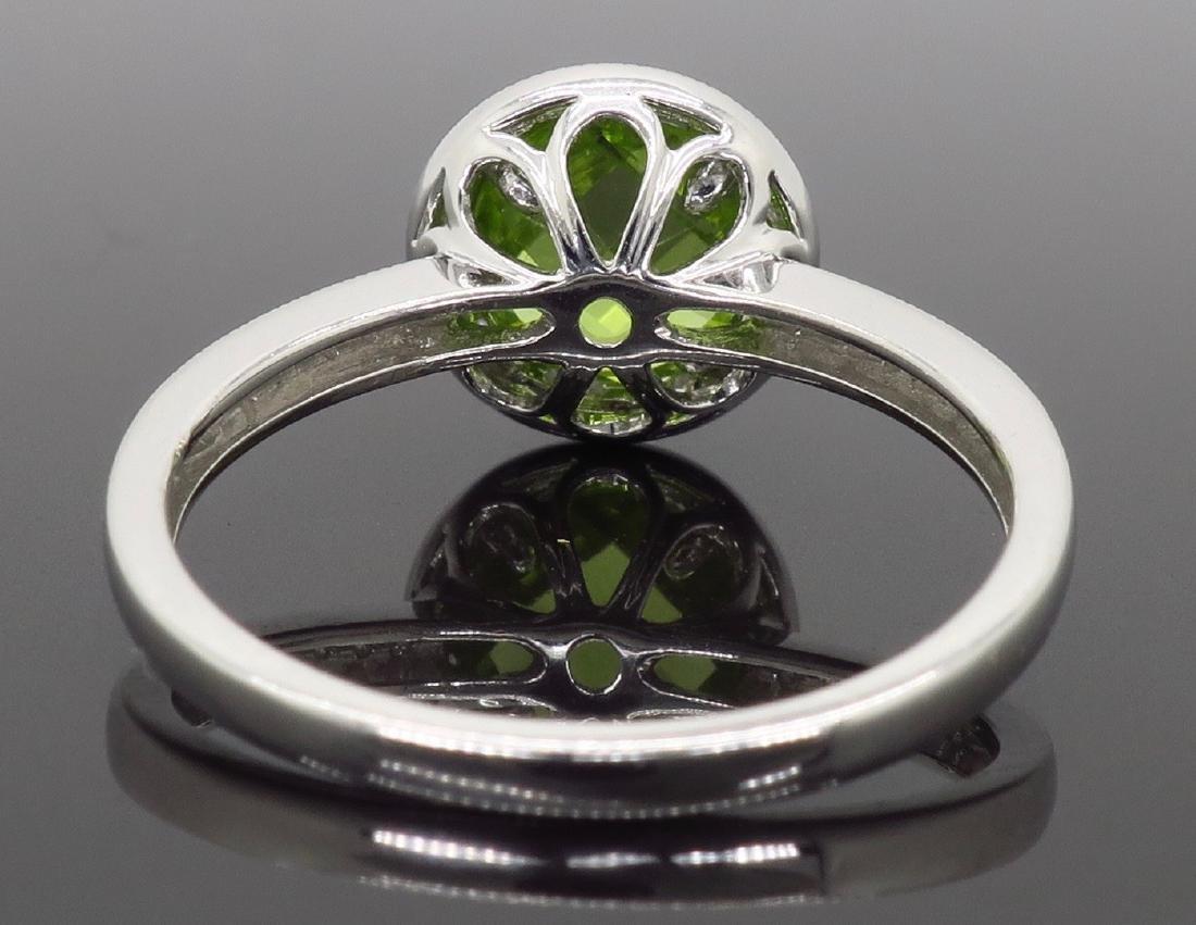 14KT White Gold 1.46ct Peridot and Diamond Ring - 5