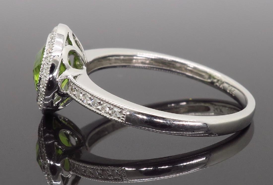 14KT White Gold 1.46ct Peridot and Diamond Ring - 6