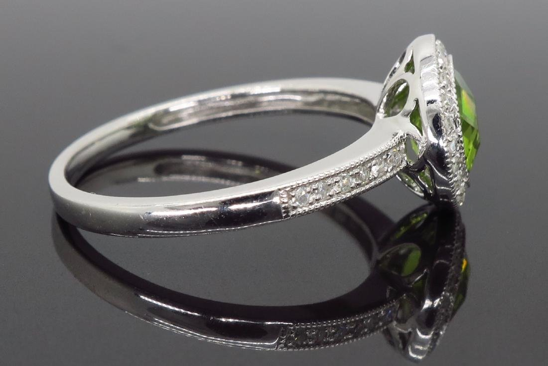 14KT White Gold 1.46ct Peridot and Diamond Ring - 7