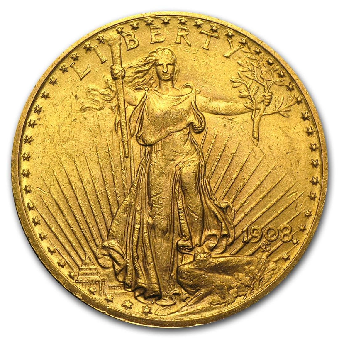 1908 $20 Saint Gaudens Double Eagle with Motto Gold