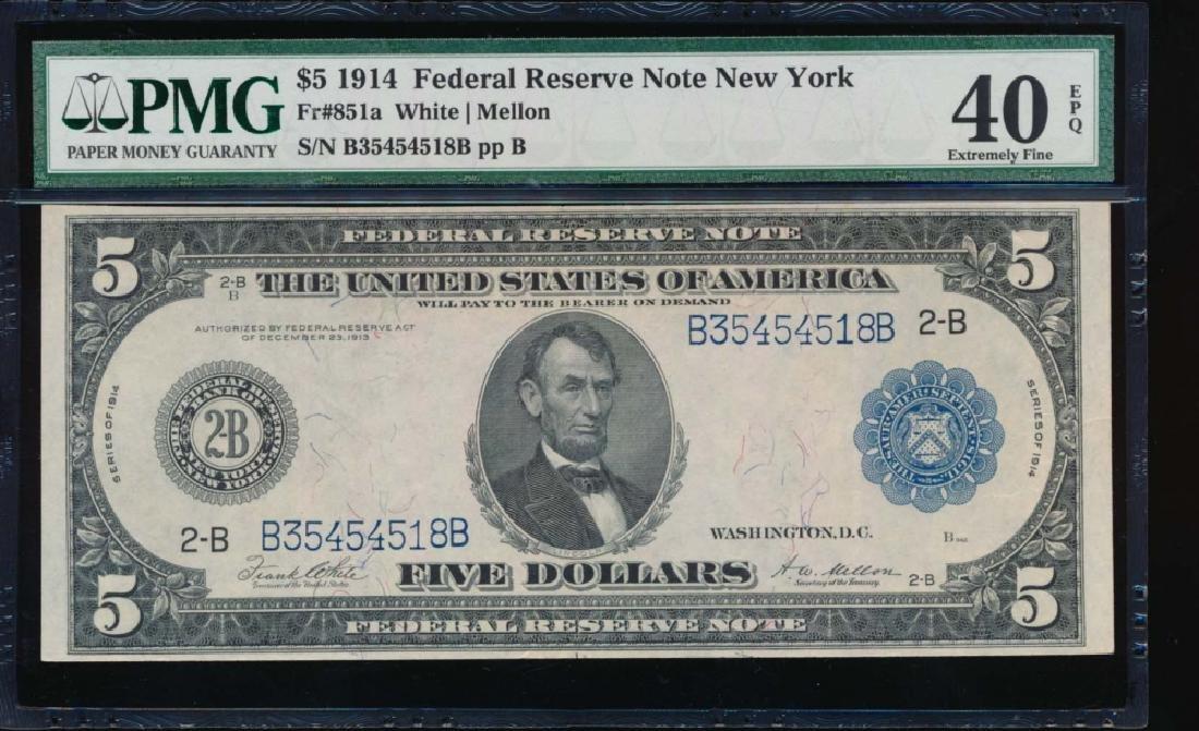 1914 $5 New York Federal Reserve Note PMG 40EPQ
