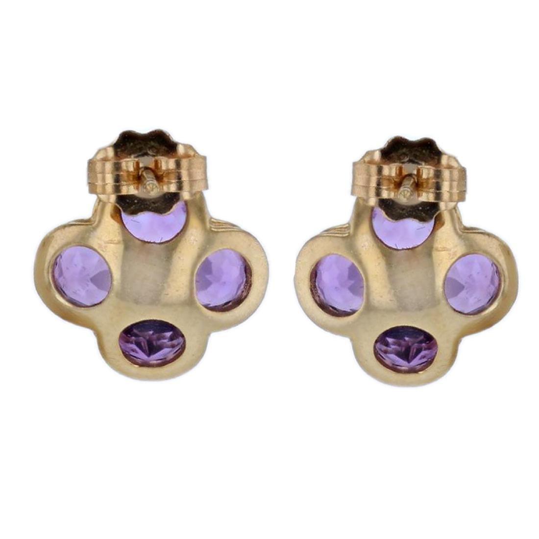 14KT Yellow Gold 1.80ctw Amethyst Earrings - 2