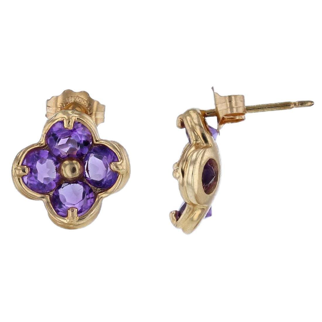 14KT Yellow Gold 1.80ctw Amethyst Earrings - 3