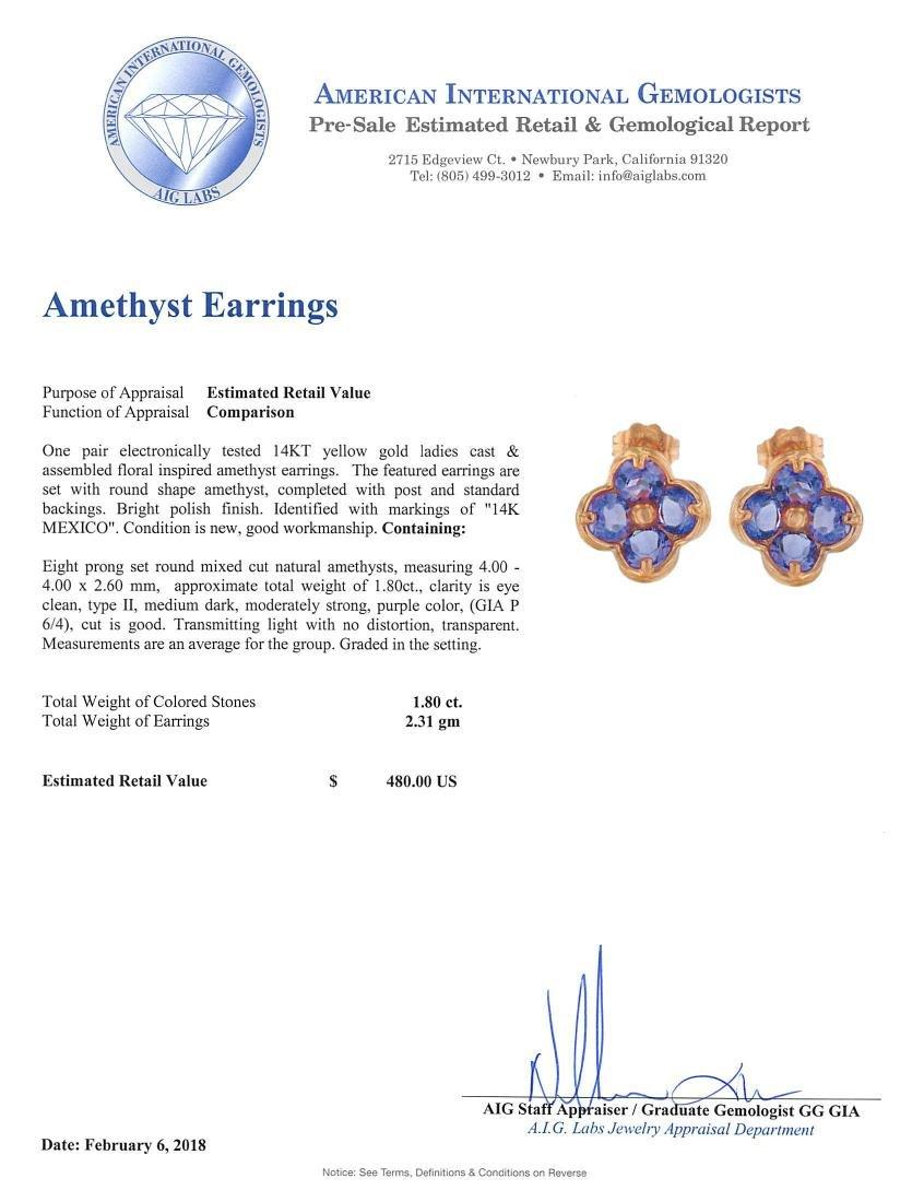 14KT Yellow Gold 1.80ctw Amethyst Earrings - 4