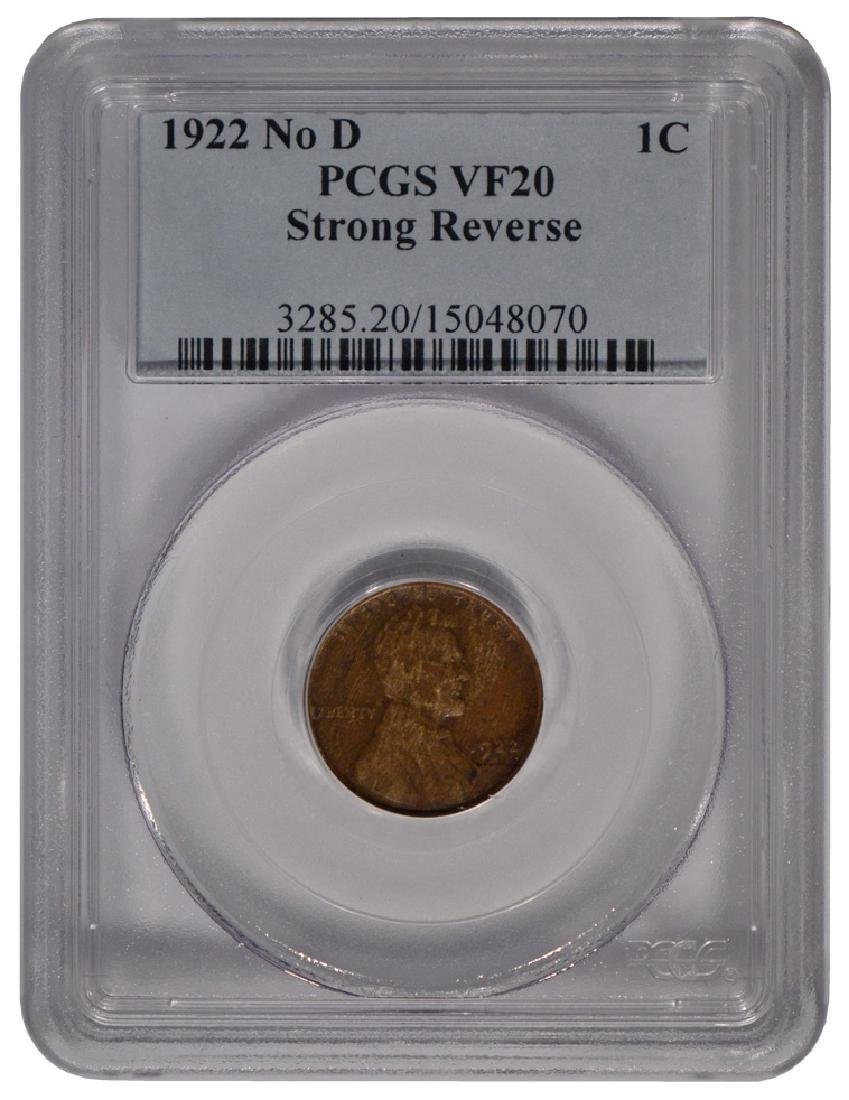 1922 No D Lincoln Cent PCGS VF20