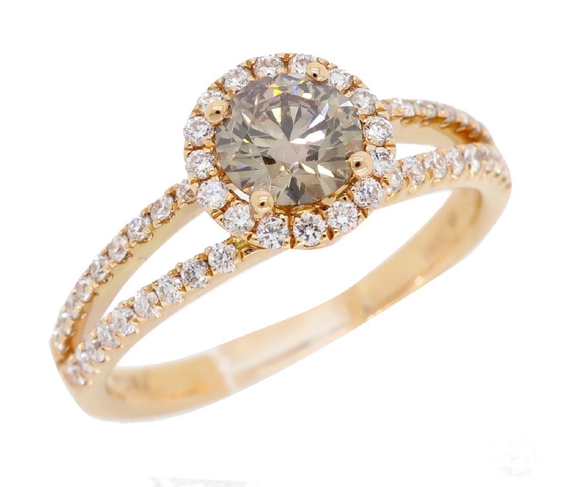 18KT Rose Gold 0.80ctw Diamond Ring - 3