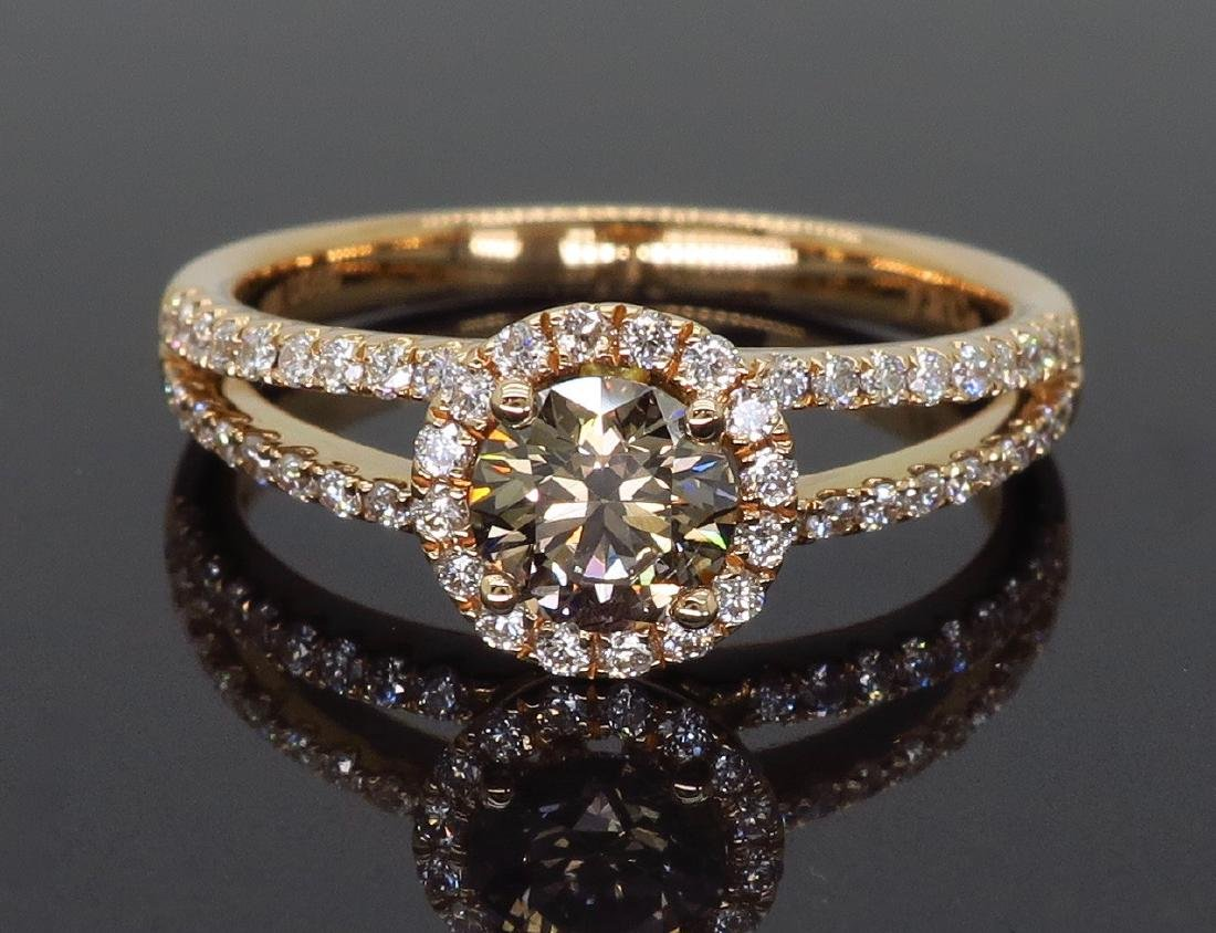 18KT Rose Gold 0.80ctw Diamond Ring - 4