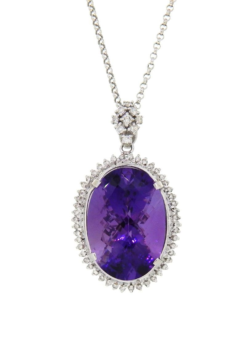 14KT White Gold 56.14ct Amethyst and Diamond Pendant