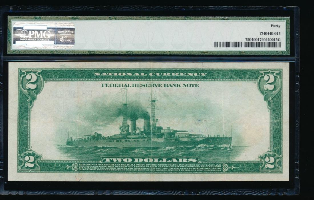 1918 $2 Large New York Federal Reserve Note PMG 40 - 2