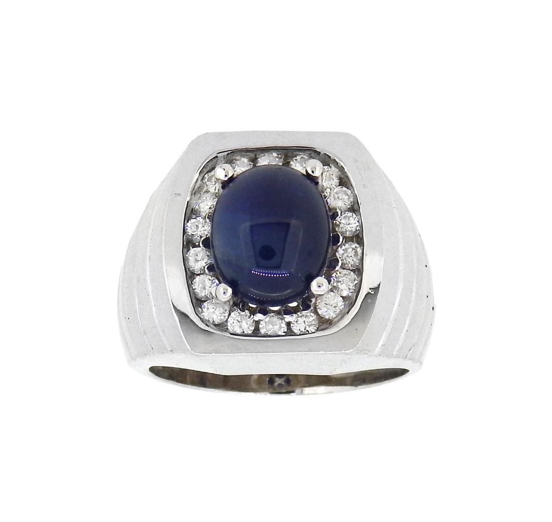 14KT White Gold 5.53ct Sapphire and Diamond Ring