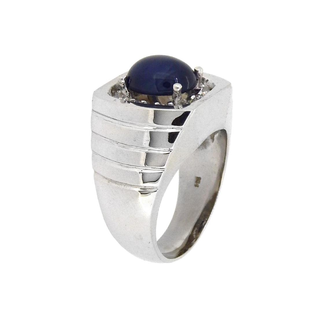 14KT White Gold 5.53ct Sapphire and Diamond Ring - 2