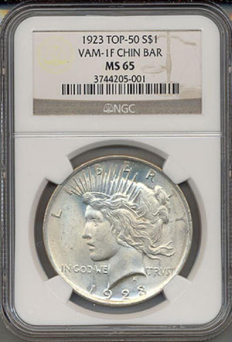 1923 $1 Peace Silver Dollar VAM 1F Chin Bar NGC MS65