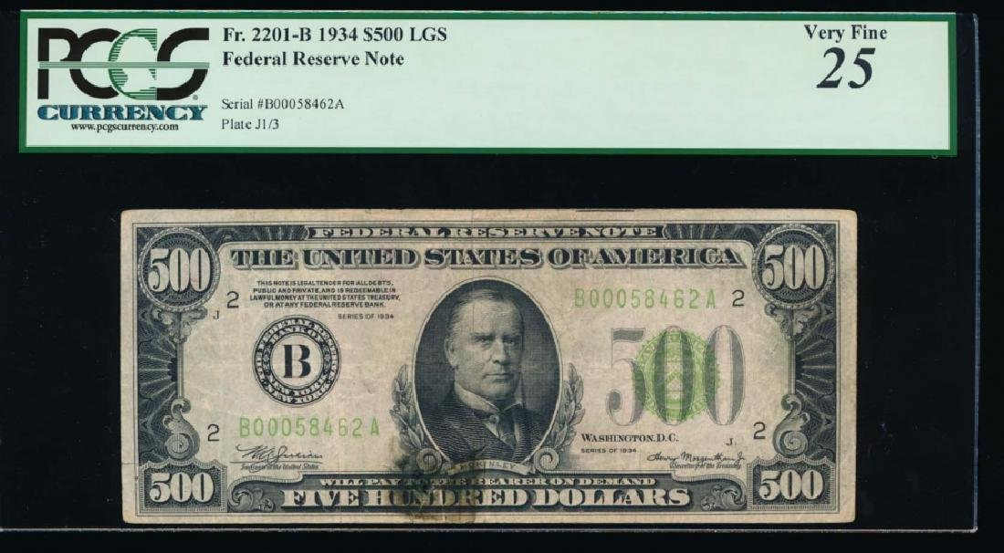 1934 $500 New York Federal Reserve Note PCGS 25