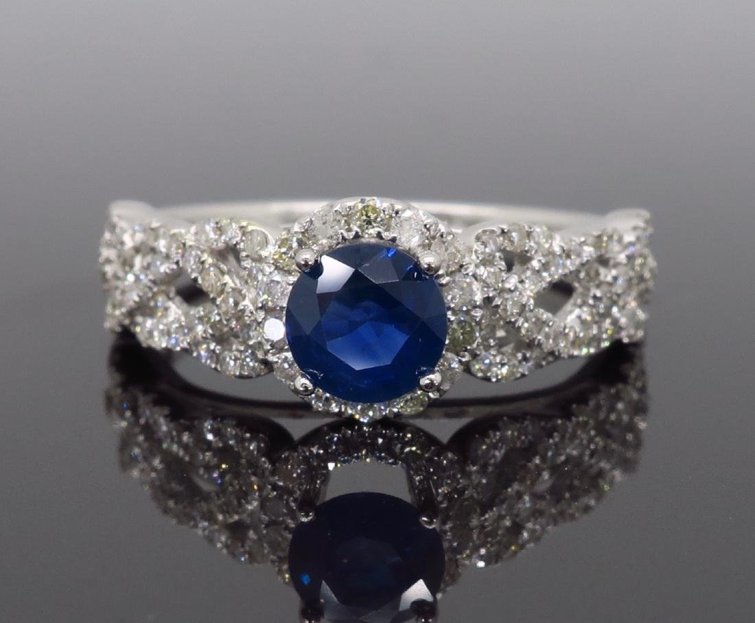 14KT White Gold Blue Sapphire and Diamond Ring - 2