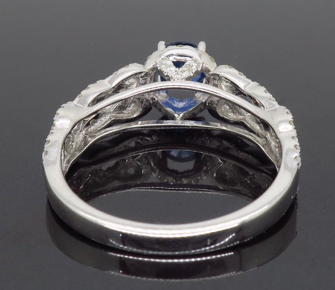 14KT White Gold Blue Sapphire and Diamond Ring - 5
