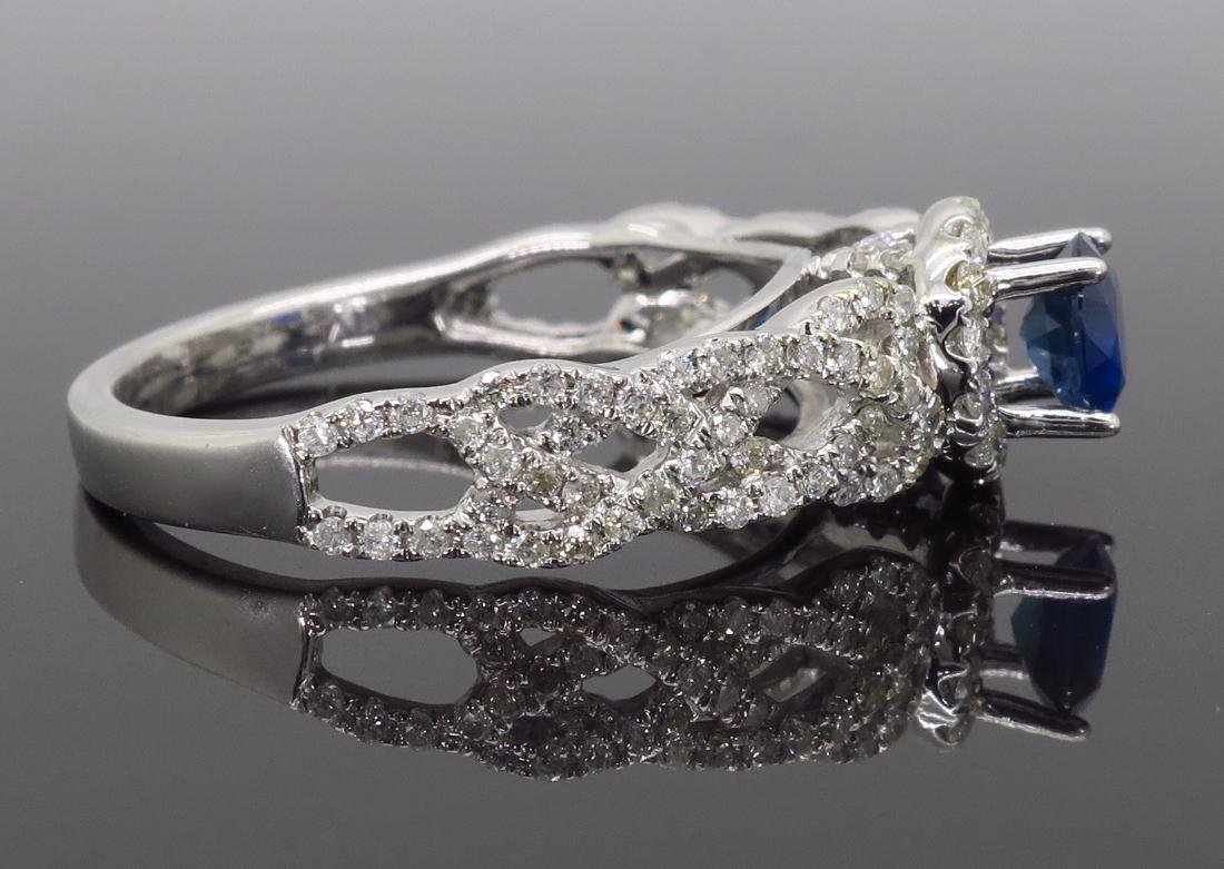 14KT White Gold Blue Sapphire and Diamond Ring - 6