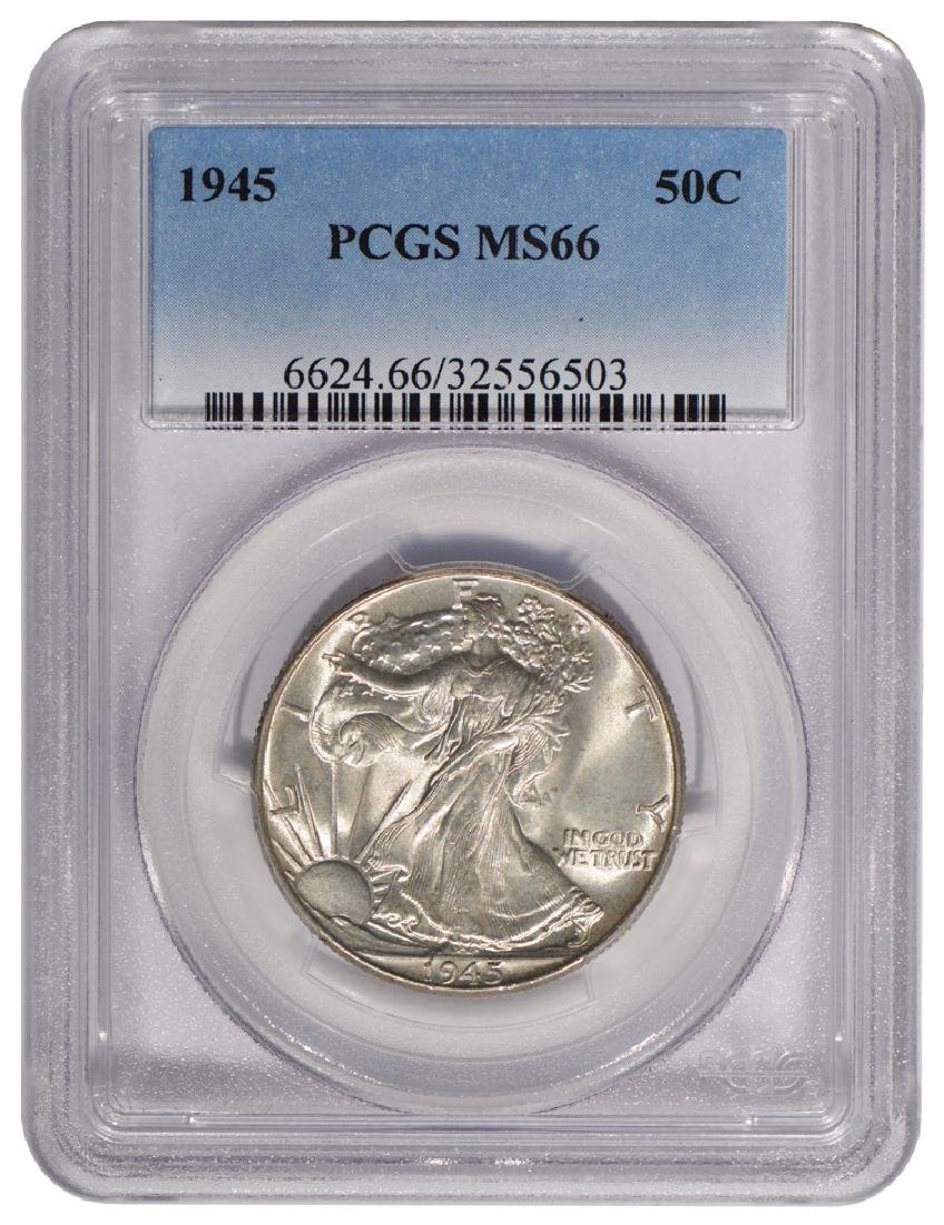 1945 Walking Liberty Half Dollar Coin PCGS MS66