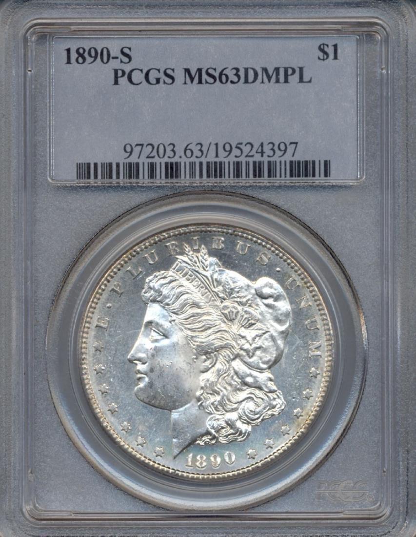1890-S $1 Morgan Silver Dollar Coin PCGS MS63DMPL