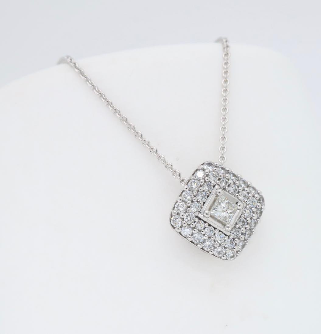 18KT White Gold 0.60ctw Diamond Pendant with Chain - 3