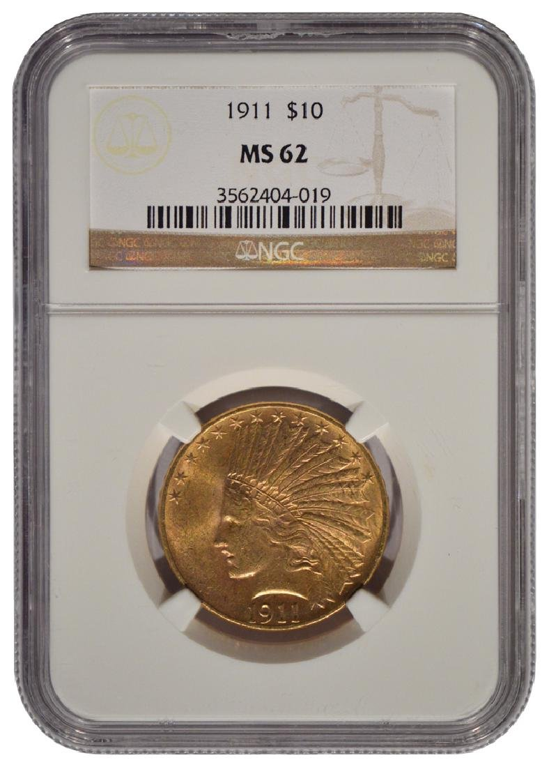 1911 $10 Liberty Head Eagle Gold Coin NGC MS62