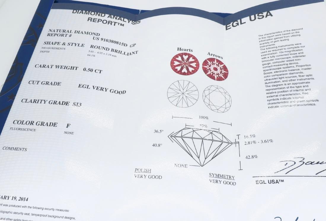 14KT White Gold 0.50ct EGL Cert Diamond Ring - 7
