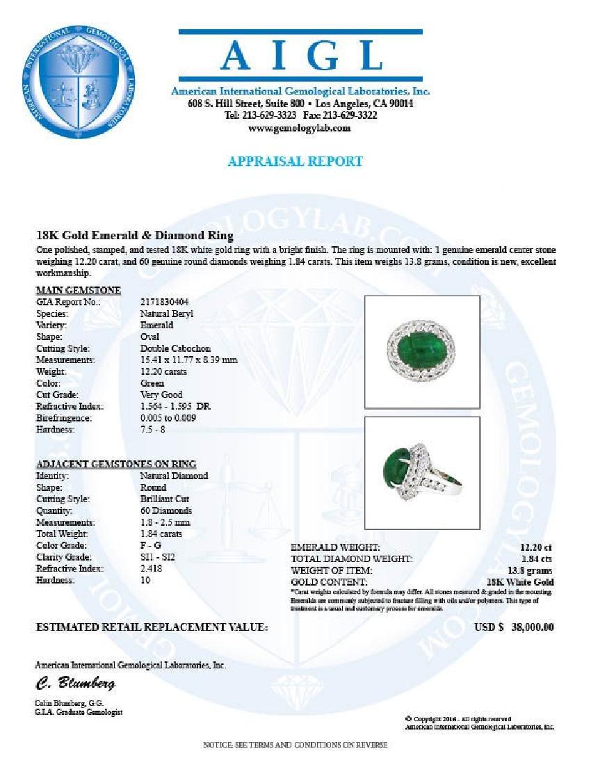 18KT White Gold 12.20ct GIA Cert Emerald and Diamond - 3
