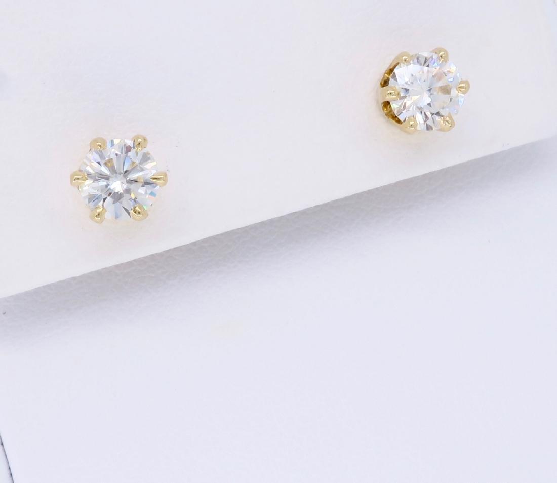 14KT Yellow Gold 1.00ctw Diamond Earrings - 2