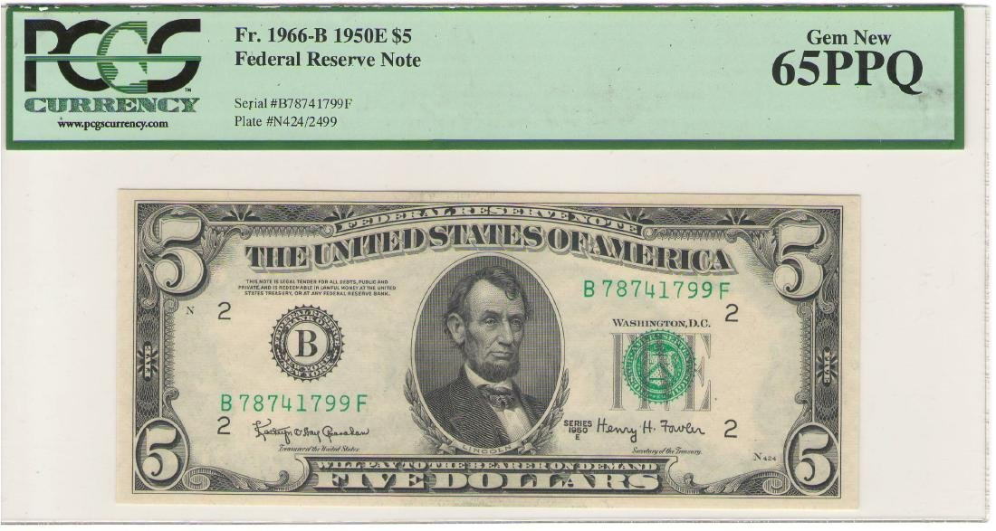 1950E $5 New York Federal Reserve Note PCGS 65PPQ