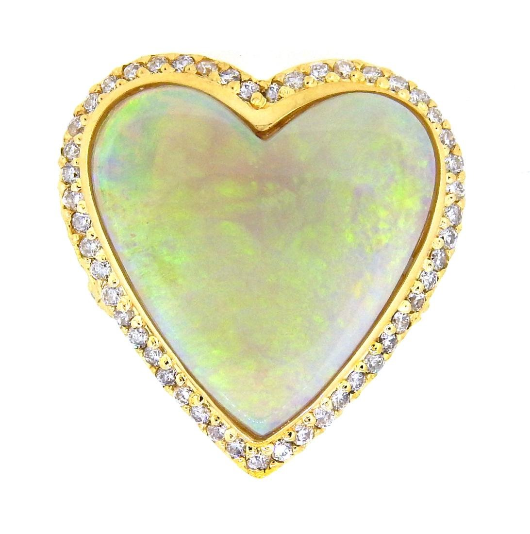 14KT Yellow Gold 9.00ct Heart Shaped Opal and Diamond