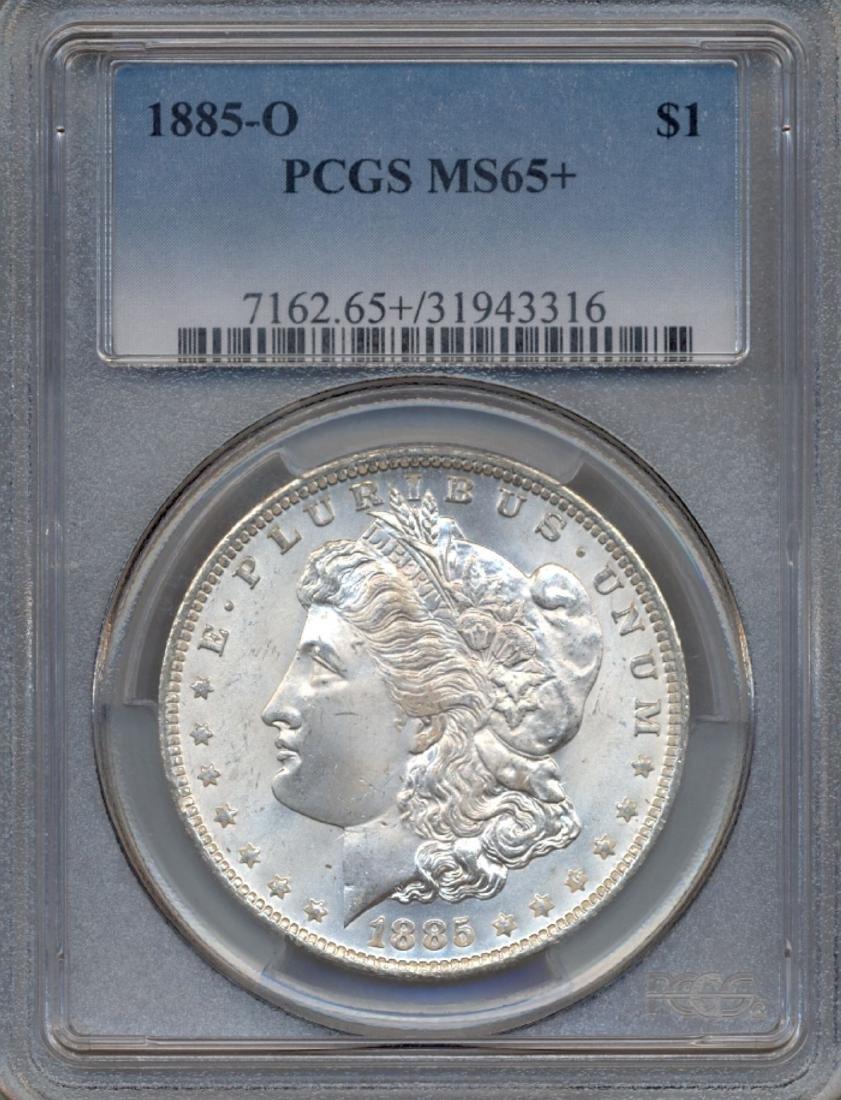 1885-O $1 Morgan Silver Dollar Coin PCGS MS65+