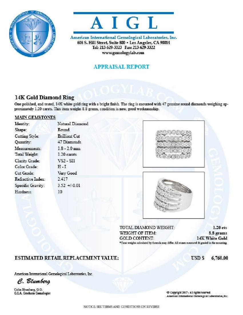 14KT White Gold 1.20ctw Diamond Ring - 3