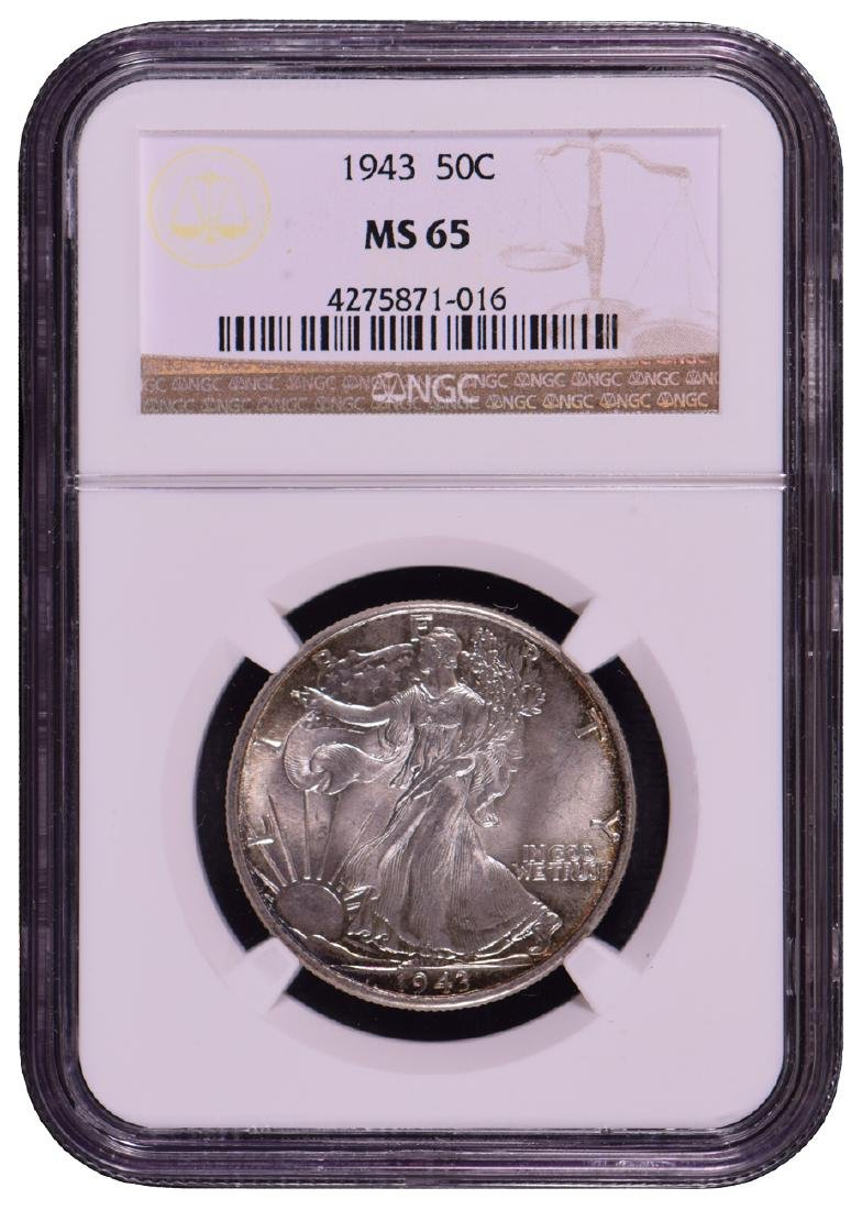 1943 Walking Liberty Half Dollar Coin NGC MS65