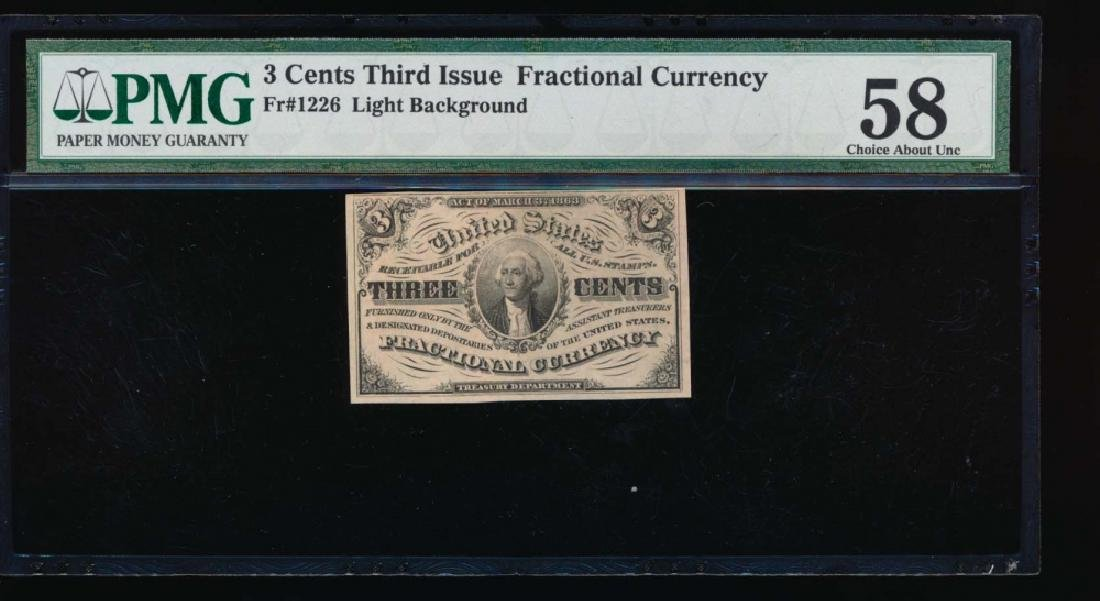 3 Cent Fractional Currency Note PMG 58