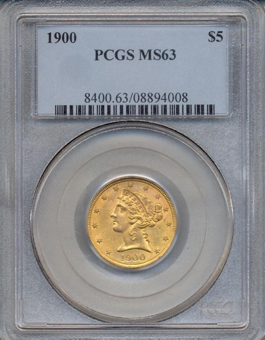 1900 $5 Liberty Head Half Eagle Gold Coin PCGS MS63