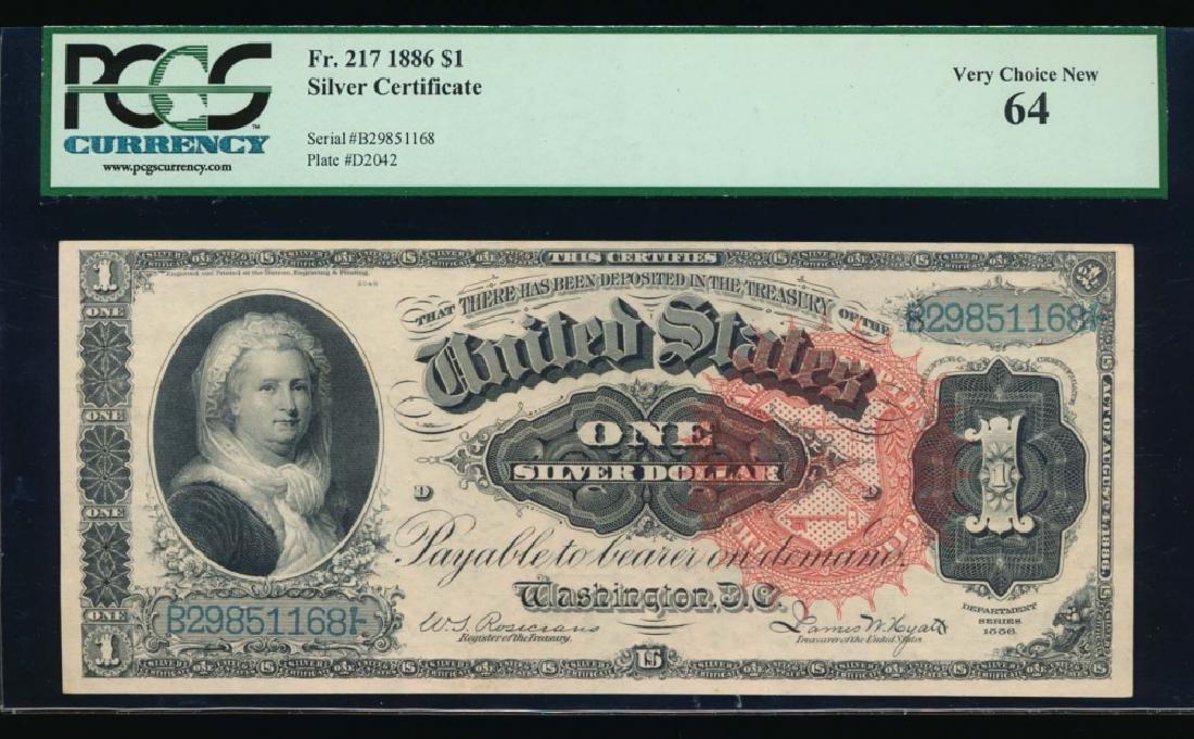 1886 $1 Martha Washington Silver Certificate PCGS 64