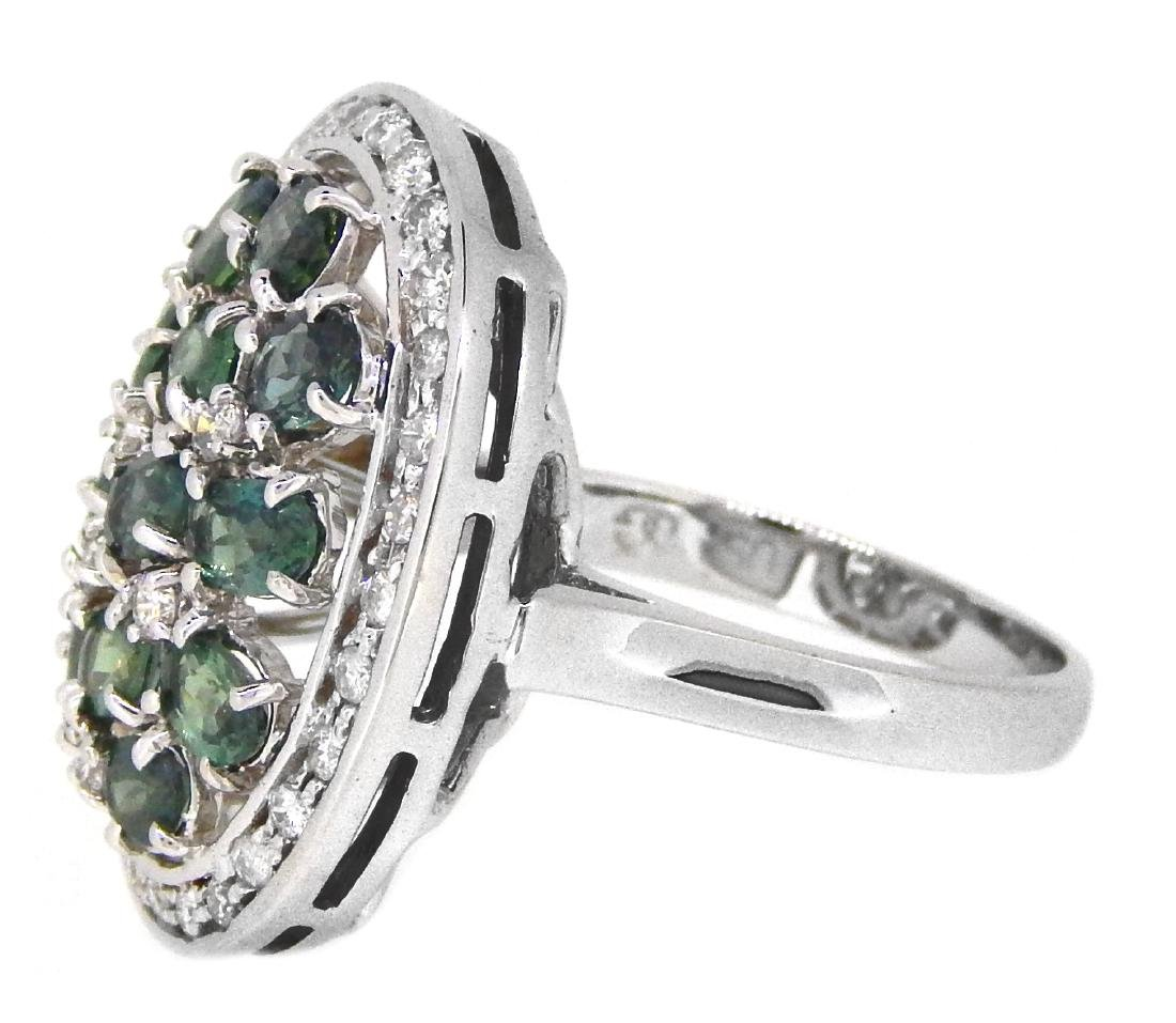 18KT White Gold 2.51ctw Alexandrite and Diamond Ring - 2