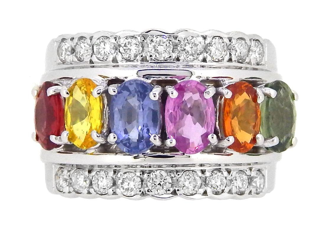 14KT White Gold 3.32ctw Multi Color Sapphire and