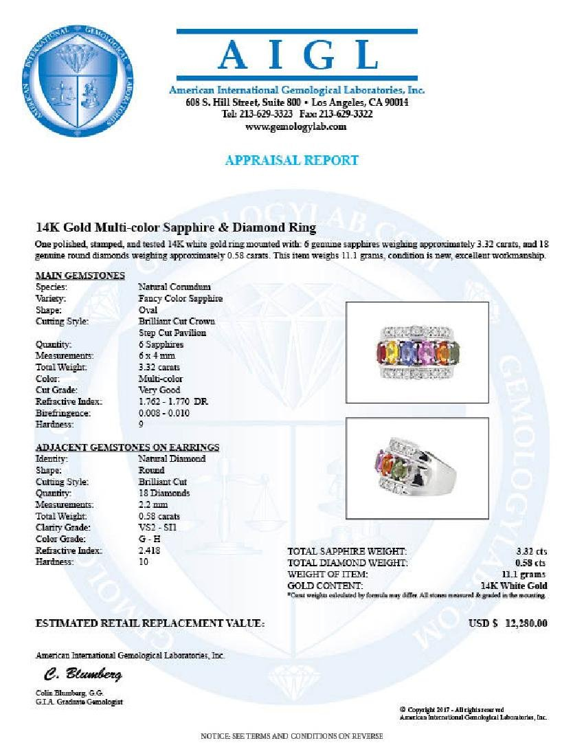 14KT White Gold 3.32ctw Multi Color Sapphire and - 3