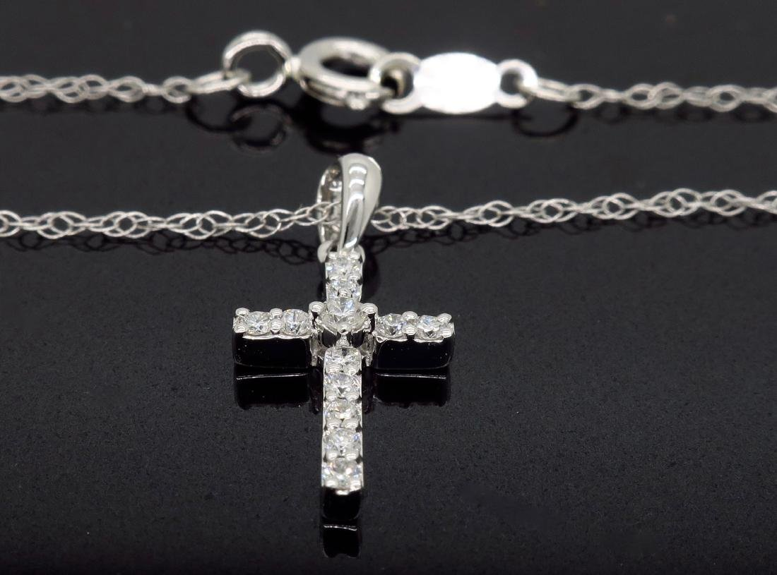 14KT White Gold 0.25ctw Diamond Pendant with Chain - 4
