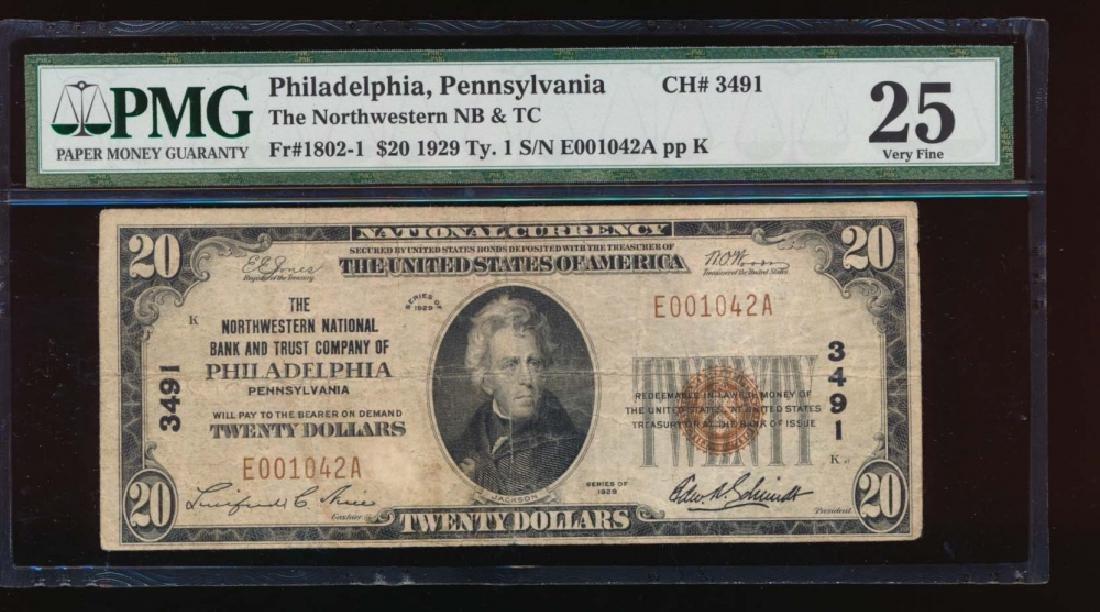 1929 $20 Northwestern Nation Bank Note PMG 25