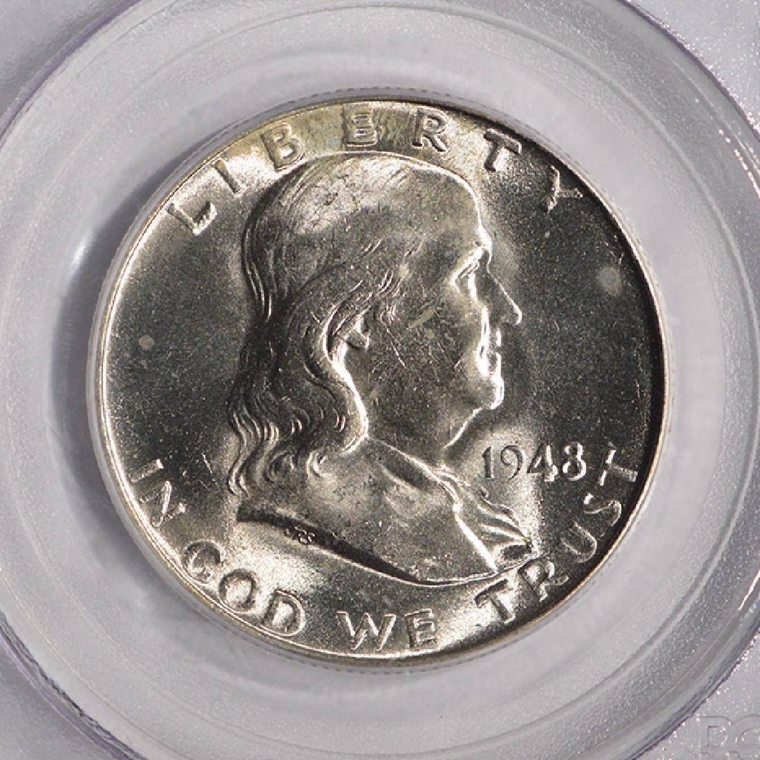 1948 Franklin Half Dollar Coin PCGS MS64FBL - 3
